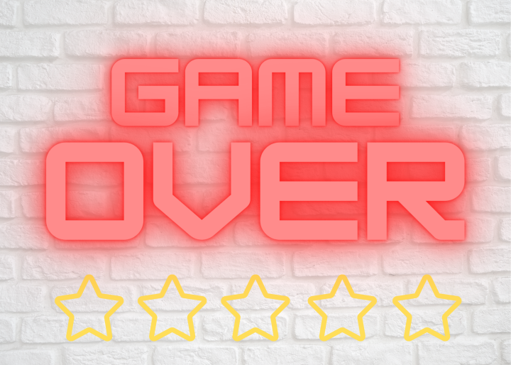 Game Over neon orange lights on a white brick wall, with Five Hollow Stars. Image by CeeGrrn
